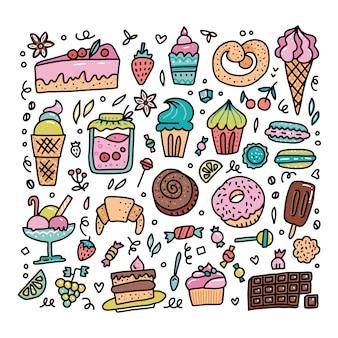 Ensemble coloré d'objets de dessin animé de nourriture sucrée doodle