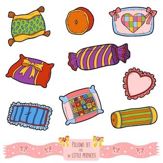 Ensemble coloré d'oreillers, collection de dessins animés de vecteur de couleur