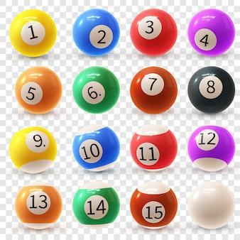 Ensemble coloré réaliste de boules de billard 3d brillantes. balles pour billard ou snooker.
