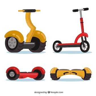 Ensemble coloré de scooters urbains