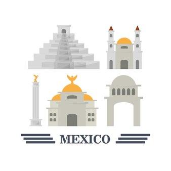 Ensemble coloré de symboles d'icônes de mexique