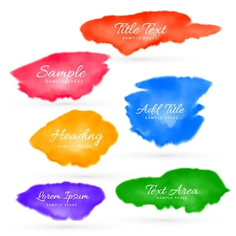 Ensemble coloré de taches d'aquarelle
