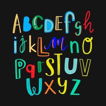 Ensemble coloré de typographie alphabet doodle
