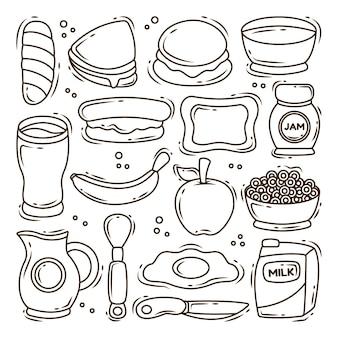 Ensemble de coloriage de collection de doodle cartoon petit déjeuner dessiné à la main
