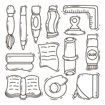Ensemble de coloriage de doodle de dessin animé de matériel scolaire dessinés à la main