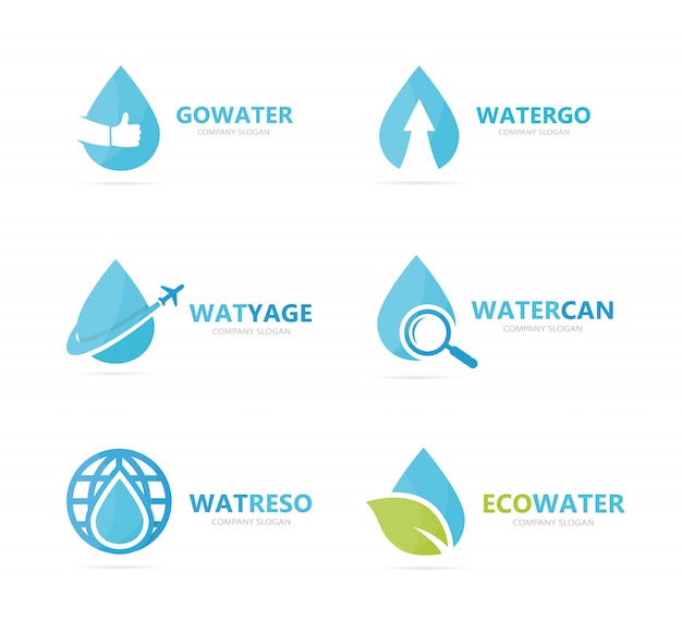 Ensemble de combinaison de logo goutte d'eau. modèle de conception de logotype d'huile et de gouttelettes.