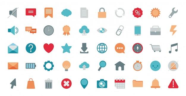 Ensemble de commerce électronique d'icônes sur fond blanc