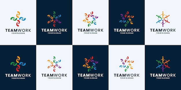 Ensemble de communauté, inspiration de conception de logo de travail d'équipe