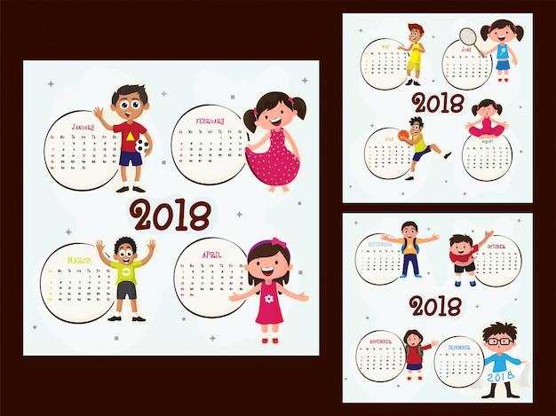 Ensemble complet de 12 mois, calendrier 2018.