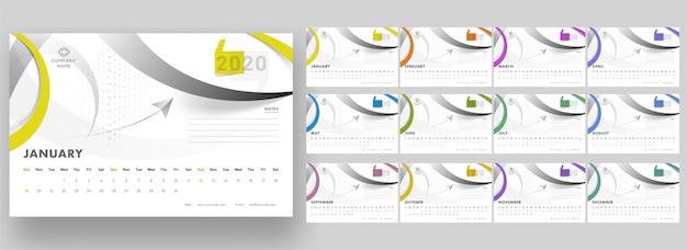 Ensemble complet de 12 mois pour le calendrier annuel 2020 avec des motifs géométriques abstraits.