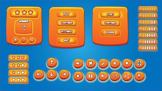 Ensemble complet de fenêtre d'icône contextuelle de jeu de bouton de menu et d'éléments