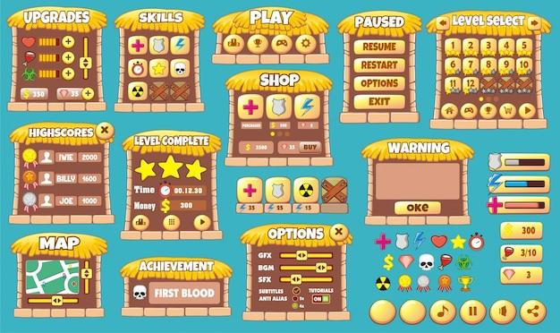 Ensemble complet d'interface utilisateur graphique pour créer des jeux et des applications