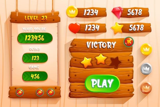 Ensemble complet de pop-up, icône, fenêtre et éléments de jeu de bouton de score pour créer des jeux vidéo rpg médiévaux