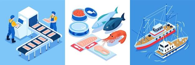 Ensemble de composition de conception de production de pêche de trois compositions carrées avec convoyeur de navires et icônes isométriques de fruits de mer