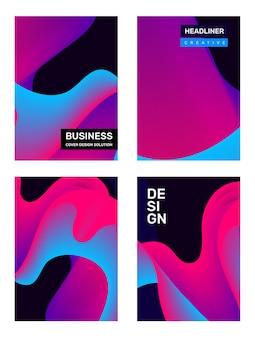 Ensemble de composition créative de modèle abstrait rose et bleu avec une forme dynamique