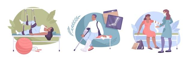 Ensemble de composition de fracture avec radiographie de physiothérapie et bandage