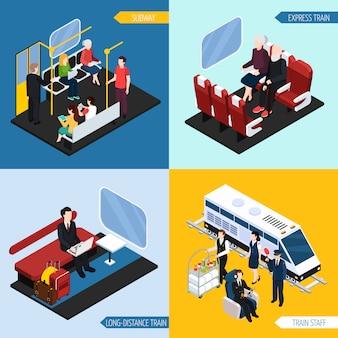 Ensemble de composition isométrique de passagers intérieurs de train