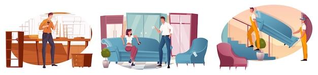 Ensemble de composition avec magasin de meubles de menuisier et deux hommes livrant un canapé