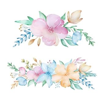 Ensemble de compositions aquarelles à partir d'un bouquet de fleurs printanières délicates.
