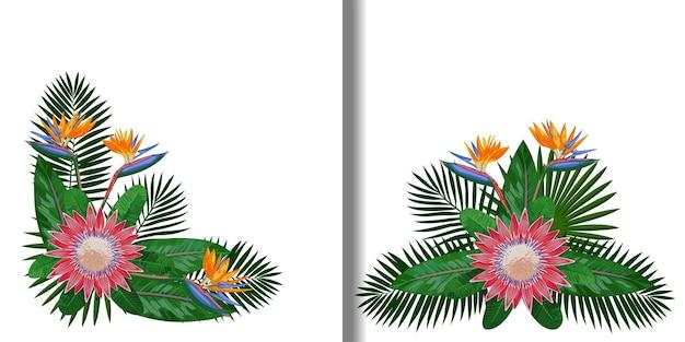 Ensemble de compositions de bouquet tropical pour t-shirts et imprimés textiles