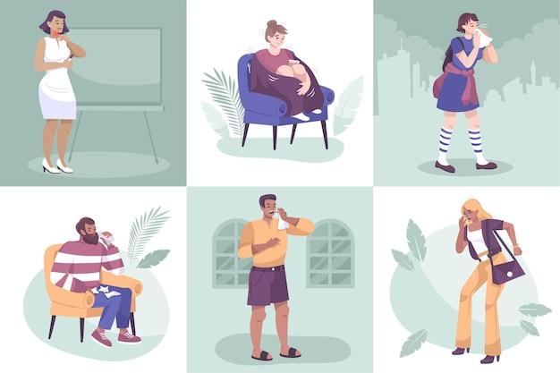 Ensemble de compositions carrées de personnes malades dans diverses situations de la vie