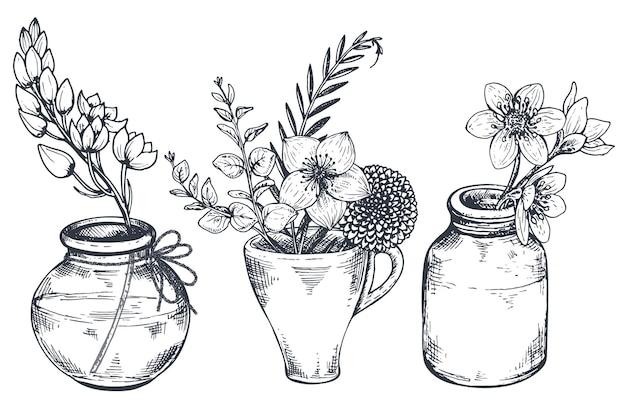 Ensemble de compositions florales. bouquets de fleurs et de plantes dessinées à la main dans des vases et des pots. illustrations monochromes dans le style de croquis.