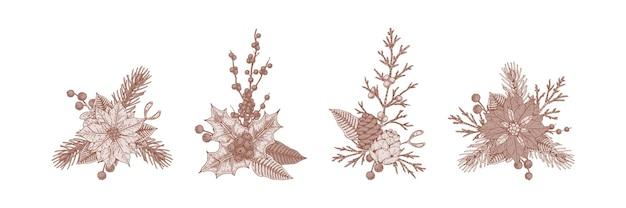 Ensemble de compositions florales de noël.