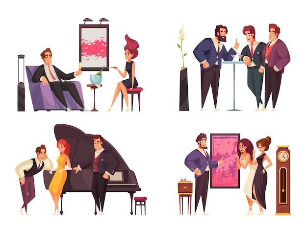 Ensemble de compositions de groupe de gens riches