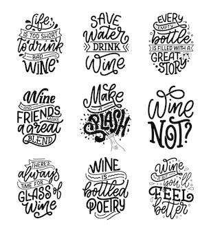 Ensemble de compositions de lettrage de vin dans un style moderne.
