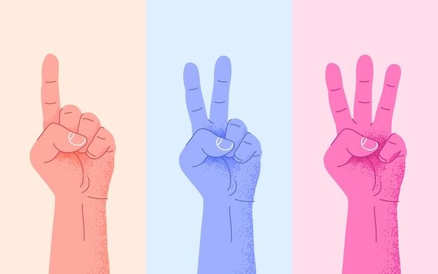 Ensemble de comptage un deux trois main signe trois étapes ou concept d'options