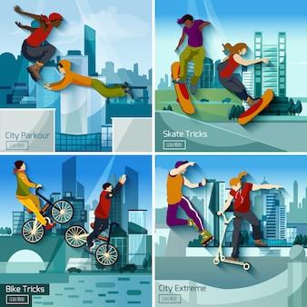 Ensemble concept 2x2 de sports extrêmes en ville