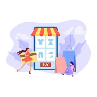 Ensemble de concept d'achat en ligne. e-commerce, client sur la vente. app sur téléphone mobile. illustration avec style
