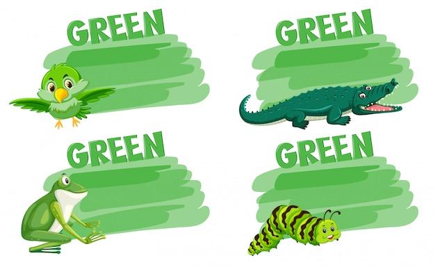 Ensemble de concept animal vert