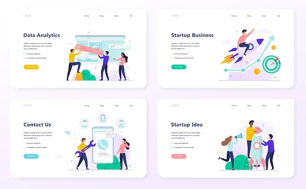 Ensemble de concept de bannière web entreprise de démarrage. analyse des données et contactez-nous modèle. idée de projet et planification. illustration