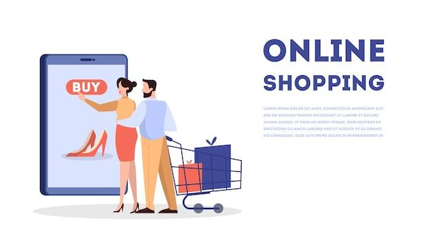 Ensemble de concept de bannière web shopping en ligne. commerce électronique