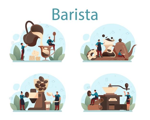 Ensemble de concept de barista.
