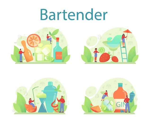 Ensemble de concept de barman.