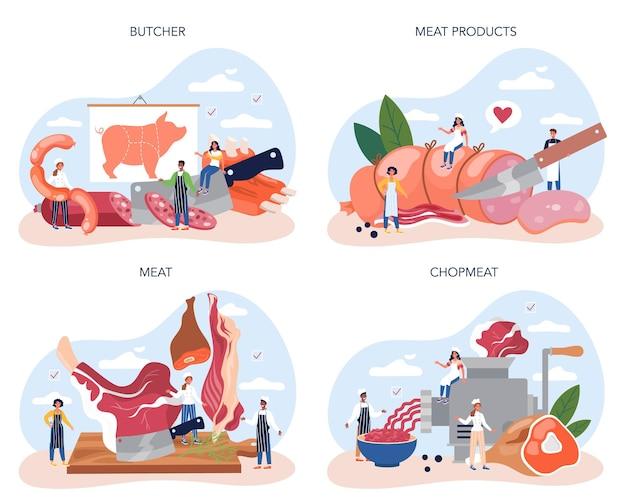 Ensemble de concept de boucher ou de viande