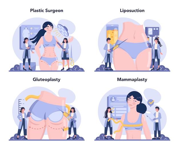 Ensemble de concept de chirurgie plastique