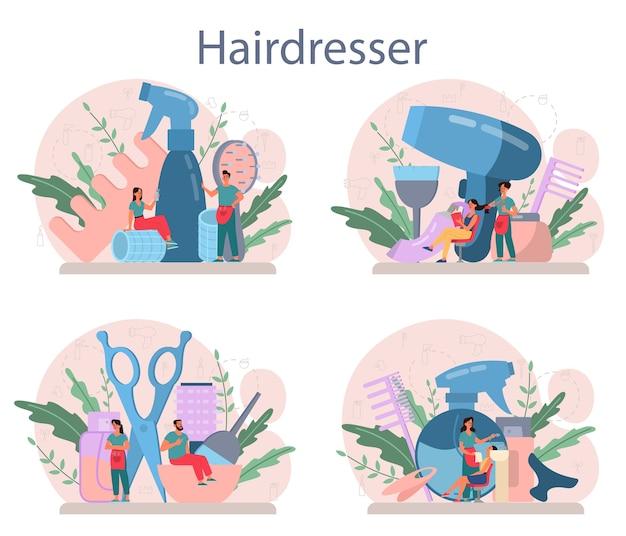 Ensemble de concept de coiffeur