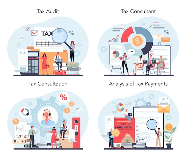 Ensemble de concept de consultant fiscal