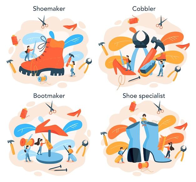 Ensemble de concept de cordonnier. chaussure de réparation de personnage masculin et féminin. chaussures à la main, fabrication rétro. illustration vectorielle isolé
