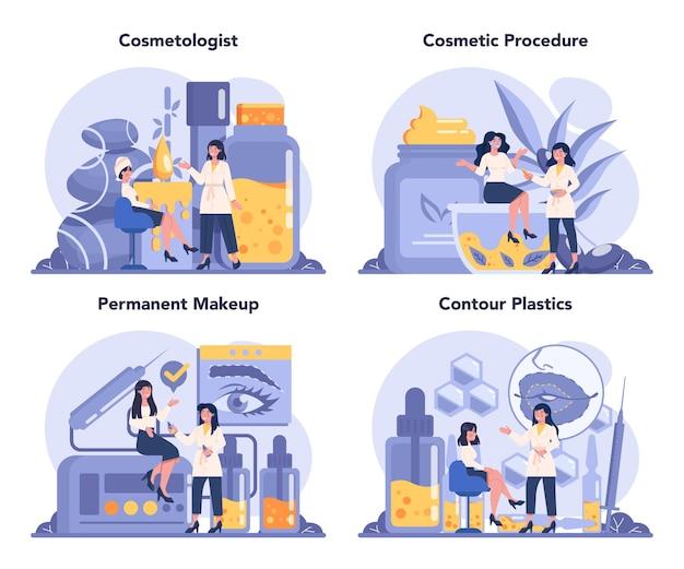 Ensemble de concept de cosmétologue, soins de la peau et traitement. jeune femme traitant la peau.