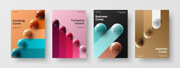 Ensemble de concept de couverture de catalogue d'orbes 3d colorés