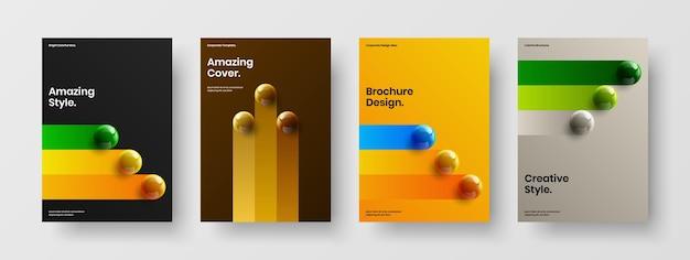 Ensemble de concept de couverture de livre orbes 3d à la mode