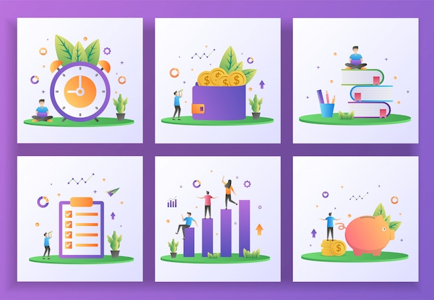 Ensemble de concept de design plat. gestion du temps, gagner de l'argent, éducation, liste d'emplois, investissement, économie d'argent.