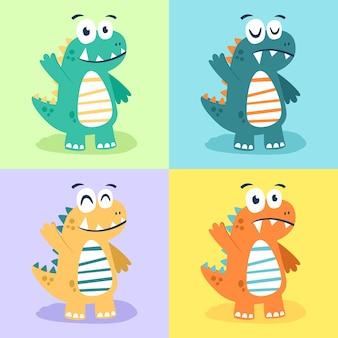 Ensemble de concept de design plat illustration dinosaure personnage cartoon