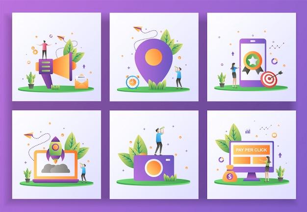 Ensemble de concept de design plat. marketing par e-mail, localisation, haute qualité, démarrage, photographie, pay per click.