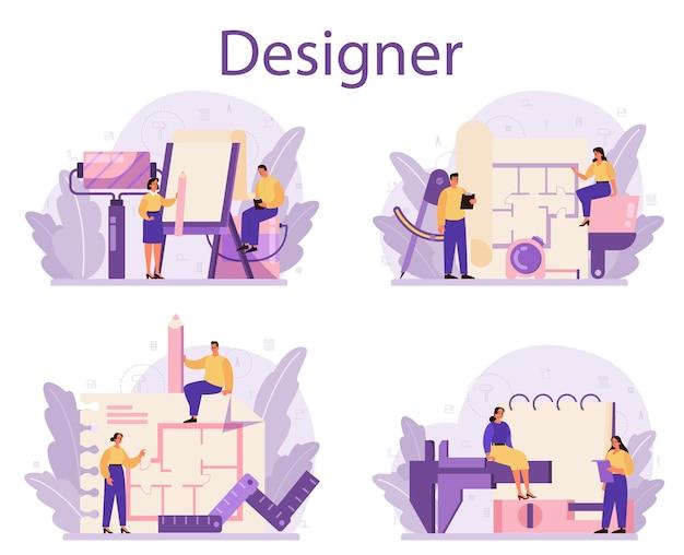 Ensemble de concept de designer d'intérieur professionnel