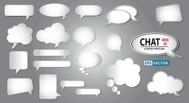 Ensemble de concept de discours de conversation de bulles vides ou bulle de bande dessinée blanche
